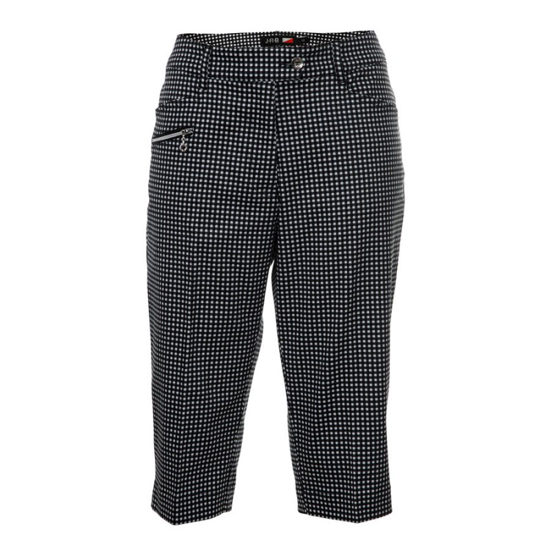 JRB Women's Golf Capri Trousers - Black Gingham