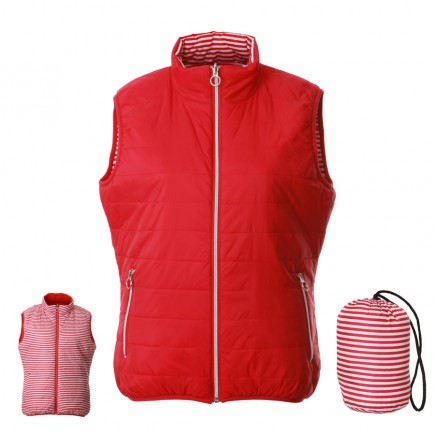 JRB Women's Golf Reversible Gillet - Crimson Red / Red and White Stripes