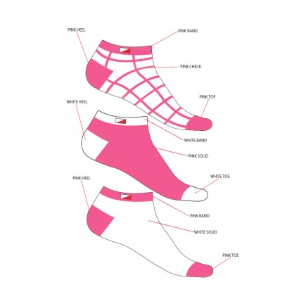 JRB Women's Golf Socks - Pink - Pack of 3 Pairs