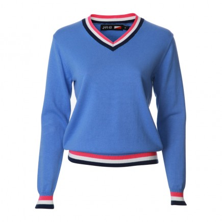 JRB Women's Golf - Spring / Summer - Sweaters - Blue with Navy, Pink and White