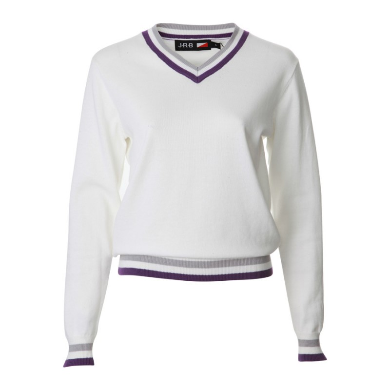 JRB Women's Golf - Spring / Summer - Sweaters - White with Purple and Grey Detail