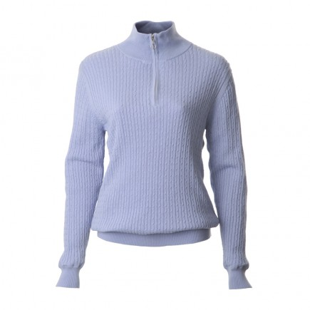JRB Women's Golf - Autumn / Winter - Baby Cable Knit - 1/4 Zipped Sweater - Heron Blue