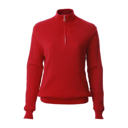 JRB Women's Golf - Autumn / Winter - Baby Cable Knit - 1/4 Zipped Sweater - Crimson Red