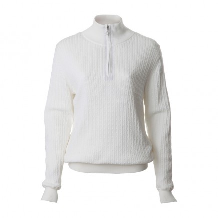 JRB Women's Golf - Autumn / Winter - Baby Cable Knit - 1/4 Zipped Sweater - Winter White
