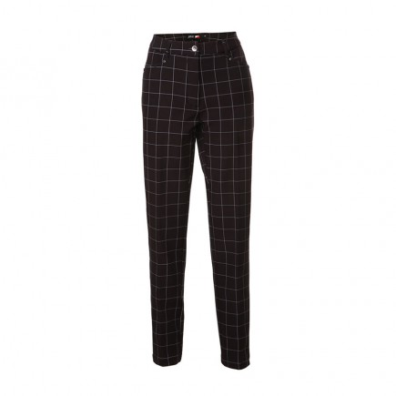 JRB Women's Golf Windstopper Trousers - Black with White Check