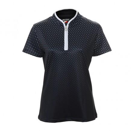 JRB Women's Golf Navy/White Spot Fashion Shirt - Sleeved or Sleeveless
