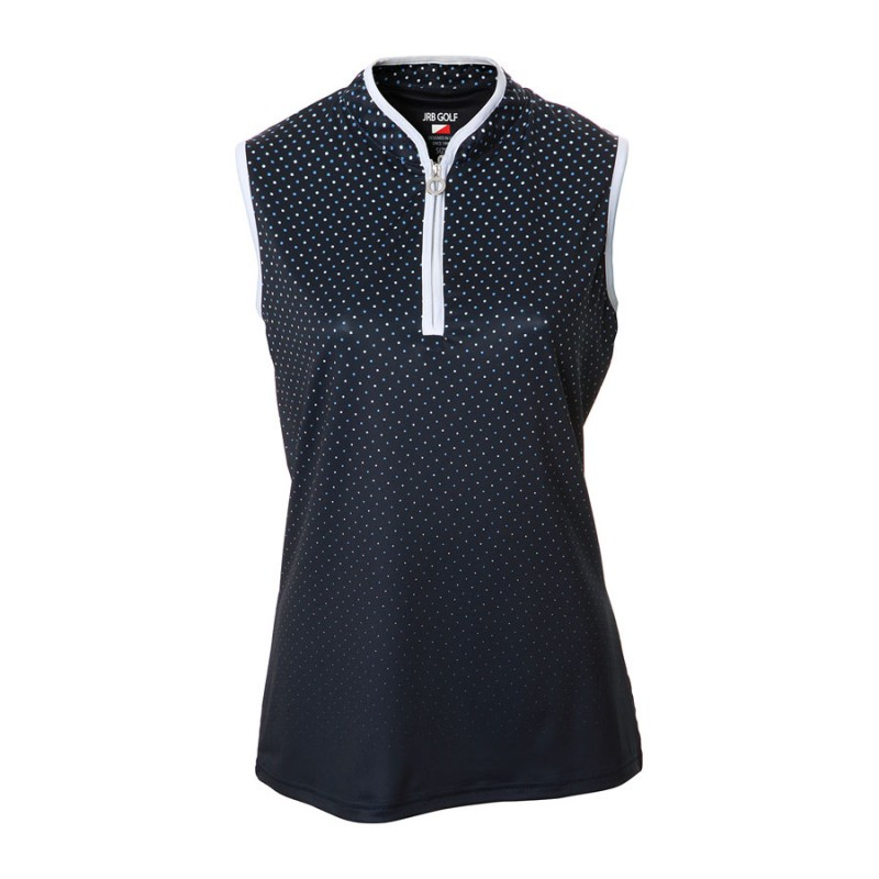 JRB Women's Golf Navy/White Spot Fashion Shirt - Sleeved or Sleeveless