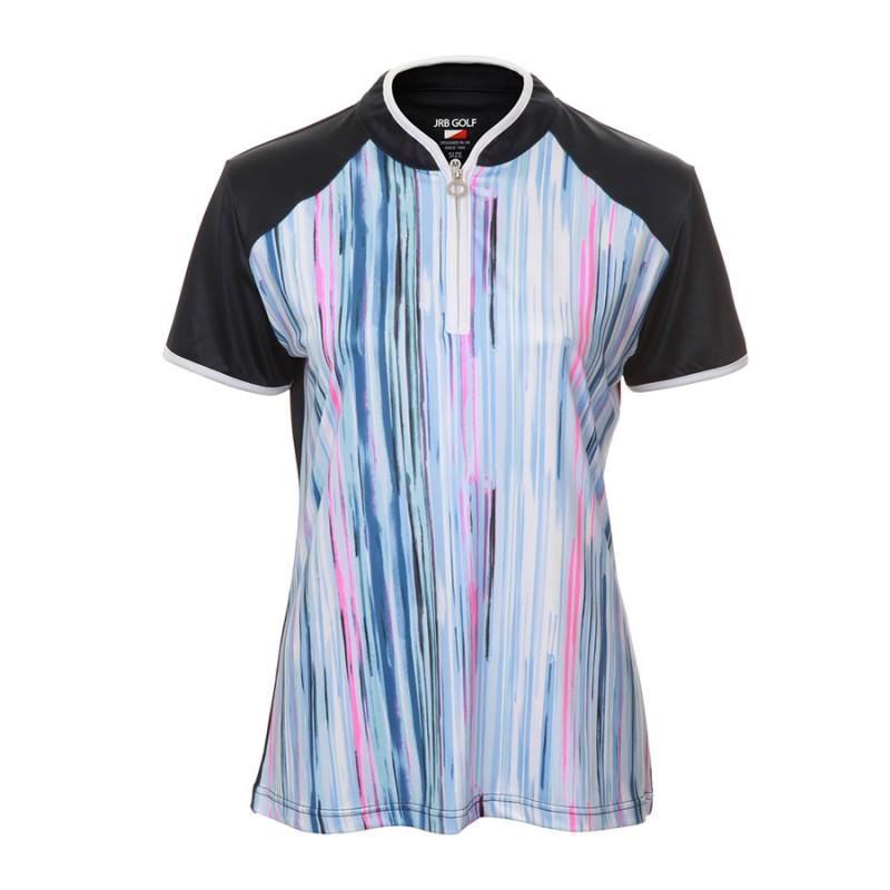 JRB Women's Golf Blue Stripe Fashion Shirt - Sleeved or Sleeveless