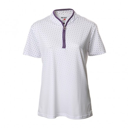 JRB Women's Golf White/Purple Spot Fashion Shirt - Sleeved or Sleeveless