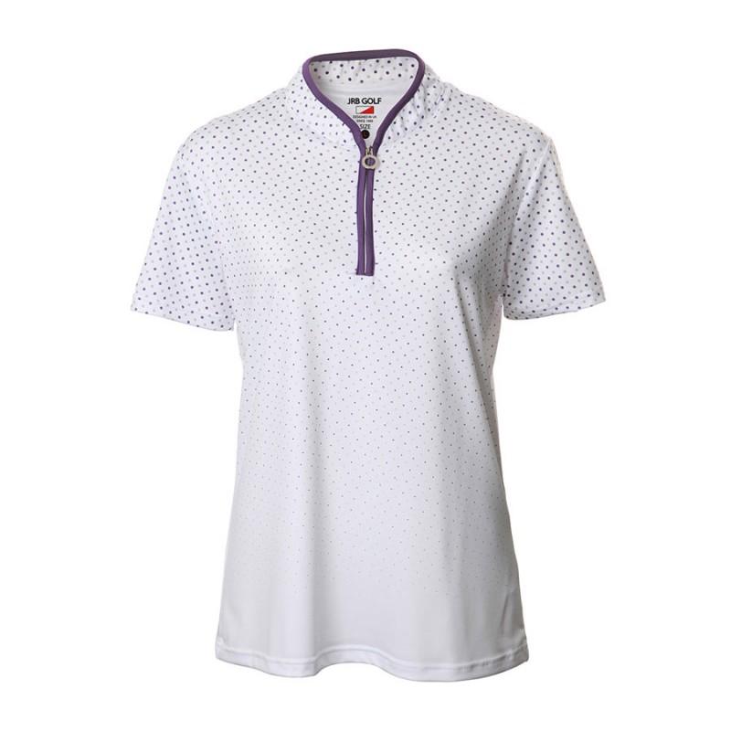 JRB Women's Golf White/Purple Spot Fashion Shirt - Sleeved or Sleeveless