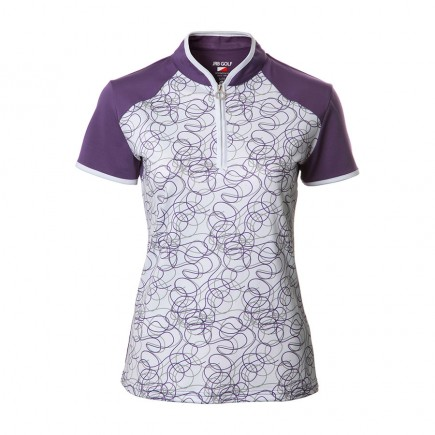 JRB Women's Golf Purple Twirl Fashion Shirt - Sleeved or Sleeveless