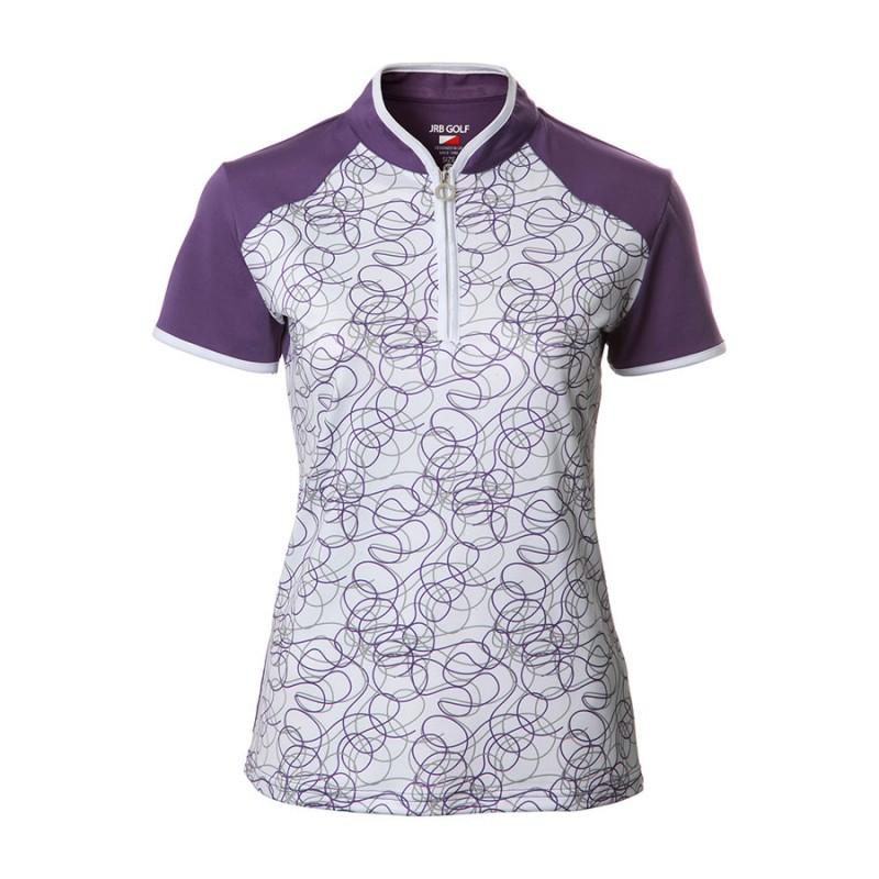JRB Women's Golf Purple Twirl Fashion Shirt - Sleeved or Sleeveless
