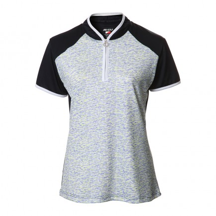 JRB Women's Golf Fashion Shirt Lime and Peri Print with Navy - Sleeved or Sleeveless
