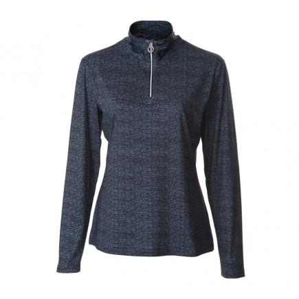 JRB Women's Golf - 1/4 Zipped Tops - Navy / Blue Print