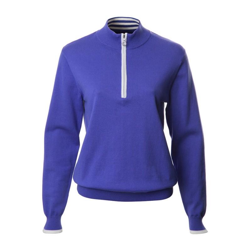 JRB Women's Golf - 1/4 Zipped Sweater - Dusted Peri Blue