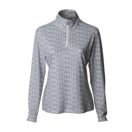 JRB Women's Golf - 1/4 Zipped Tops - White / Black Print